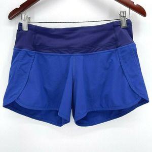 Lululemon Speed Shorts Blue Interior Drawstring Rear Zip Pocket Size 4